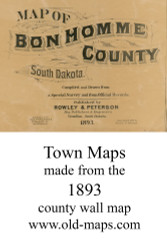 Map Cartouche, Bon Homme County, South Dakota 1893 Old Town Map Custom Print -