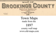 Map Cartouche, Brookings Co, South Dakota 1897 Old Town Map Custom Print - Brookings Co.