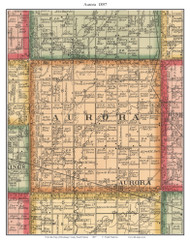 Aurora, South Dakota 1897 Old Town Map Custom Print - Brookings Co.