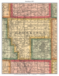 Brookings, South Dakota 1897 Old Town Map Custom Print - Brookings Co.