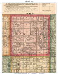 Oak Lake, South Dakota 1897 Old Town Map Custom Print - Brookings Co.