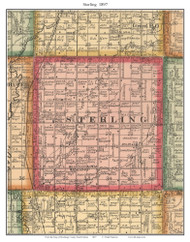 Sterling, South Dakota 1897 Old Town Map Custom Print - Brookings Co.