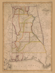 Alabama 1819 Melish - Old State Map Reprint