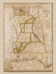 Alabama 1820 Melish - Old State Map Reprint