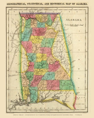 Alabama 1822 Carey (Map Only) - Old State Map Reprint