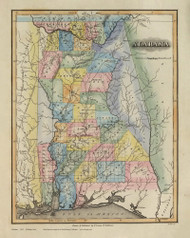 Alabama 1823 Lucas - Old State Map Reprint