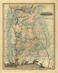Alabama 1826 Lucas - Old State Map Reprint
