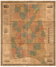 Alabama 1838 LaTourette - Old State Map Reprint
