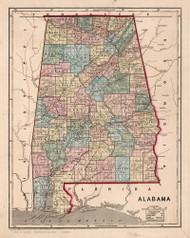 Alabama 1842 Morse & Breese - Old State Map Reprint