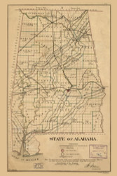 Alabama 1866 GLO - Old State Map Reprint