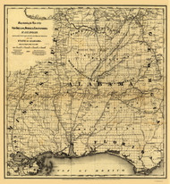 Alabama 1867 New Orleans RR - Old State Map Reprint