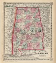 Alabama 1867 Schonberg - Old State Map Reprint
