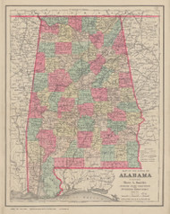 Alabama 1884 Smith - Old State Map Reprint