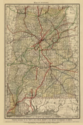 Alabama 1888 Railrod Commissioners - Old State Map Reprint