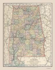 Alabama 1891 Matthews-Northrup Co. - Old State Map Reprint