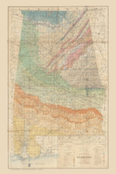 Alabama 1894 Geological - Old State Map Reprint