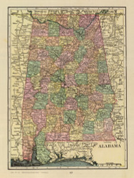 Alabama 1909 Cram - Old State Map Reprint