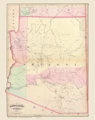 Arizona 1874 Asher & Adams - Old State Map Reprint