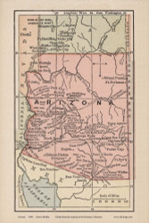 Arizona 1880 Bolitho - Old State Map Reprint