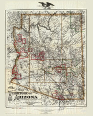 Arizona 1880 Eckhoff & Riecker - Old State Map Reprint
