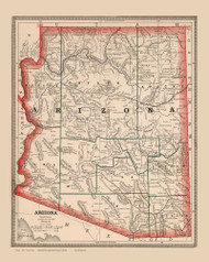 Arizona 1883 Cram - Old State Map Reprint