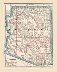 Arizona 1893 Cram - Old State Map Reprint