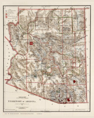 Arizona 1896 GLO - Old State Map Reprint