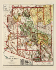 Arizona 1910 GLO - Old State Map Reprint