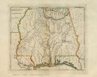 Mississippi Territory 1814 Carey - Old State Map Reprint