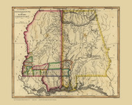 Mississippi Territory 1817 Lewis - Old State Map Reprint