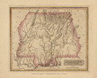 Mississippi Territory 1817 Lucas - Old State Map Reprint