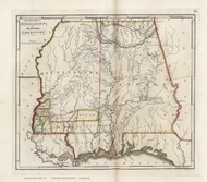 Mississippi Territory 1818 Carey - Old State Map Reprint