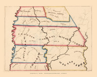 Mississippi Territory 1819 Baker - Old State Map Reprint