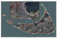 Aerial Photo View of Nantucket with Village Inset 2005 - Massachusetts Custom Composite Map Reprint