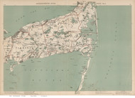Yarmouth, Dennis, Brewster, & Chatham Area, Massachusetts 1891 Old Town Map Reprint - Walker State Atlas Plate 09