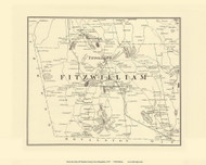 Fitzwilliam, New Hampshire 1877 Old Town Map Reprint - Cheshire Co.