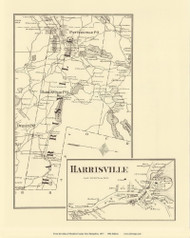 Harrisville Town & Village, New Hampshire 1877 Old Town Map Reprint - Cheshire Co.