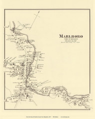 Marlboro Village, New Hampshire 1877 Old Town Map Reprint - Cheshire Co.