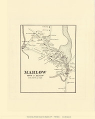 Marlow Village, New Hampshire 1877 Old Town Map Reprint - Cheshire Co.