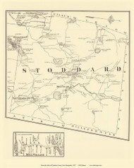 Stoddard Town & Mill Village - Stoddard, New Hampshire 1877 Old Town Map Reprint - Cheshire Co.
