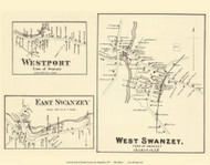 West Swanzey, East Swanzey, and Westport Villages - Swanzey, New Hampshire 1877 Old Town Map Reprint - Cheshire Co.
