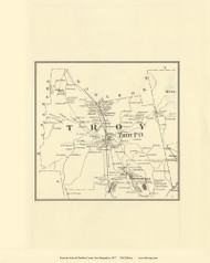 Troy, New Hampshire 1877 Old Town Map Reprint - Cheshire Co.