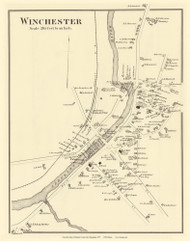 Winchester Village, New Hampshire 1877 Old Town Map Reprint - Cheshire Co.