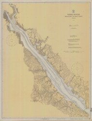 York River - Yorktown to West Point 1919 - Old Map Nautical Chart AC Harbors 495 - Virginia