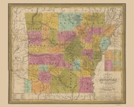 Arkansas 1836 Mitchell - Old State Map Reprint
