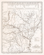 Arkansas 1836 Tanner - Old State Map Reprint