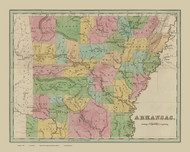 Arkansas 1838 Bradford - Old State Map Reprint