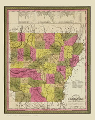 Arkansas 1847 Mitchell - Old State Map Reprint