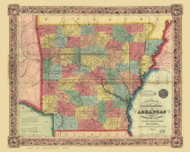 Arkansas 1854 Colton - Old State Map Reprint