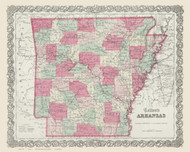 Arkansas 1865 Colton - Old State Map Reprint